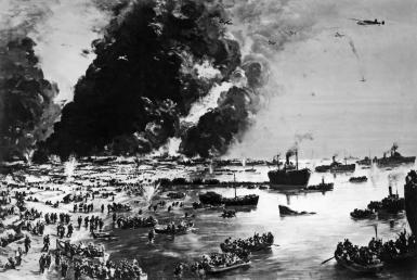 The Evacuation of Dunkirk as painted by Charles Cundall, Dunkirk, France, June 1, 1940. The British evacuated over 350,000 British, Belgian, French, and Polish troops from the path of the overwhelming numbers of the German Army. (Photo by Charles Cundall/Underwood Archives/Getty Images)