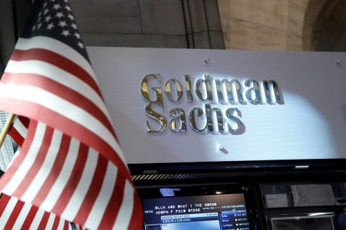 FILE PHOTO: A view of the Goldman Sachs stall on the floor of the New York Stock Exchange July 16, 2013. REUTERS/Brendan McDermid/File Photo/File Photo