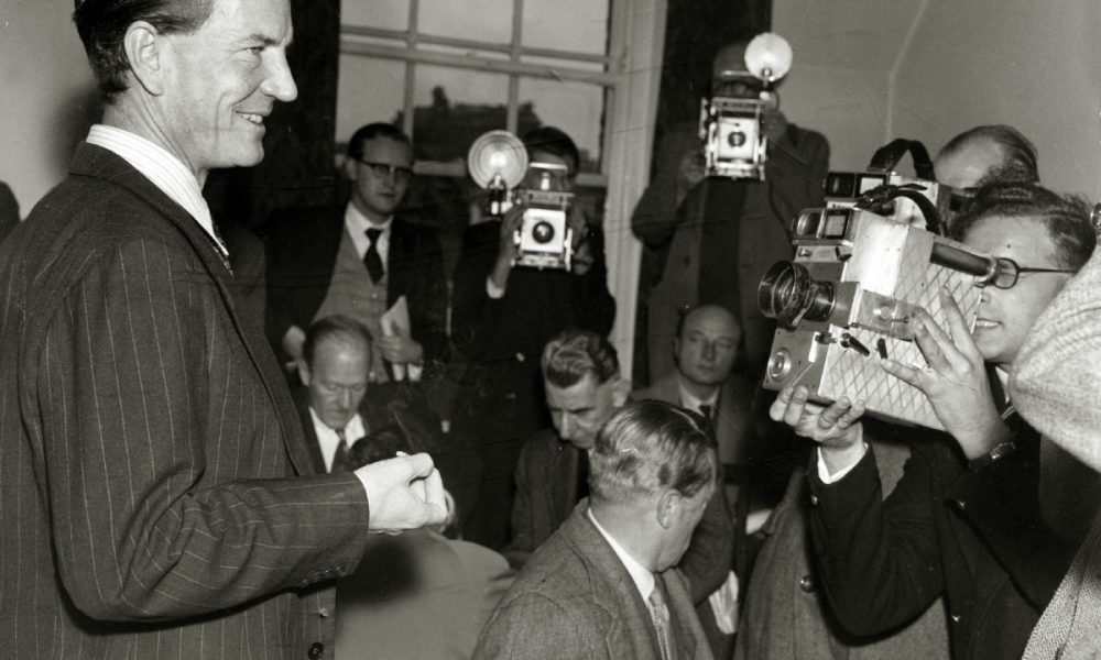"""Crime, Espionage, pic: circa 1955, Kim Philby pictured in London at a press conference, where he denied he was the infamous """"third man"""" who tipped off British spies Burgess and McLean as they were about to be arrested, Harold """"Kim"""" Philby defected to the Soviet Union in 1963, after a career in British Intelligence, Credit: Popperfoto,com Ref: KPS  (Photo by Rolls Press/Popperfoto/Getty Images) Rolls Press/Popperfoto/Toronto Star"""