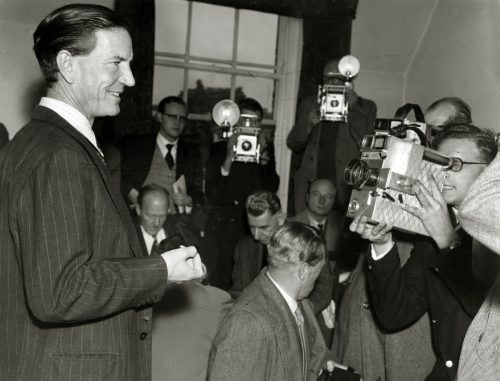 "Crime, Espionage, pic: circa 1955, Kim Philby pictured in London at a press conference, where he denied he was the infamous ""third man"" who tipped off British spies Burgess and McLean as they were about to be arrested, Harold ""Kim"" Philby defected to the Soviet Union in 1963, after a career in British Intelligence, Credit: Popperfoto,com Ref: KPS  (Photo by Rolls Press/Popperfoto/Getty Images) Rolls Press/Popperfoto/Toronto Star"